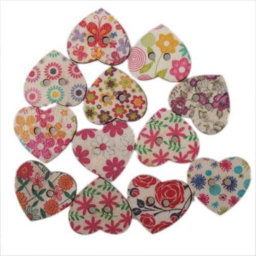 Wooden Heart Buttons 24x21x2.7mm Assorted x1