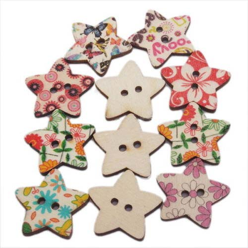 Wooden Star Buttons 23x19mm Assorted x1