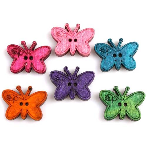 Wooden Butterfly Buttons 23x17mm Assorted x1