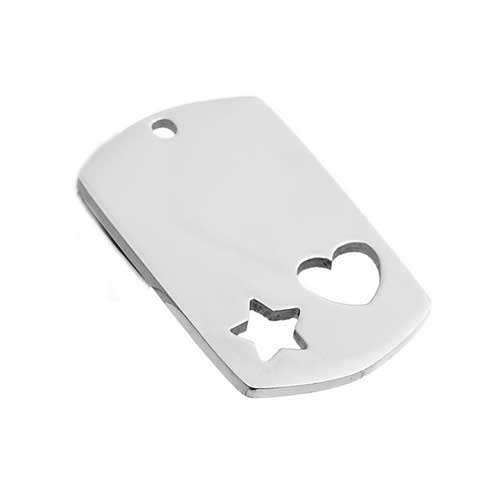 Stainless Steel Rectangle Tag 28.4x17.5mm 16g with Star & Heart Hole Stamping Blank x1