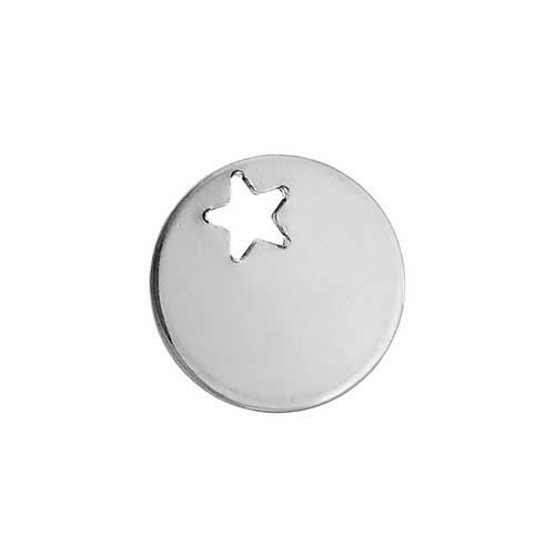 Stainless Steel Circle 12.5mm 19g Stamping Blank with Star Hole x1
