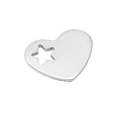 Stainless Steel Heart 12.5x10.2mm 19g Stamping Blank with Star Hole x1