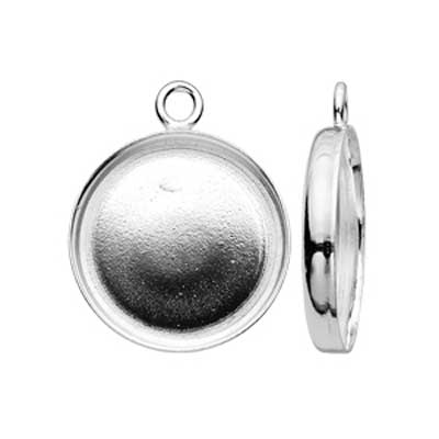 Sterling Silver 12mm Round Bezel Charm Setting x1