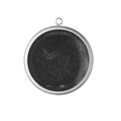 Sterling Silver 25mm Round Bezel Pendant Setting x1