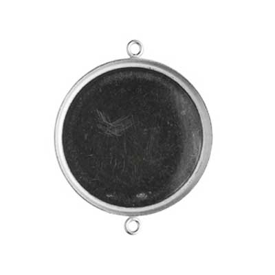 Sterling Silver 25mm Round Bezel Setting Link Connector x1