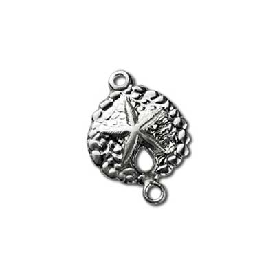 Sterling Silver Charms - 9.7x13.4mm Sand Dollar Stamping Link Connector x1