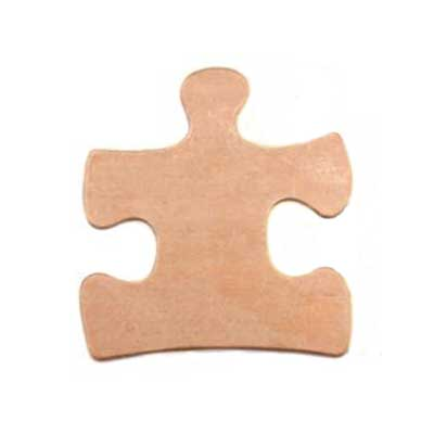 Copper Metal Stamping Blank, Puzzle Piece II 25x23mm 24g Stamping Blank x1