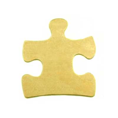 Brass Puzzle Piece II 25x23mm 24g Stamping Blank x1