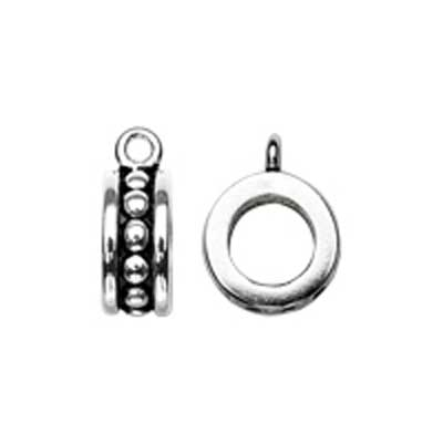 Sterling Silver Bead 7mm - 4.3mm Hole Bali Style Rondelle with loop for Charms x1