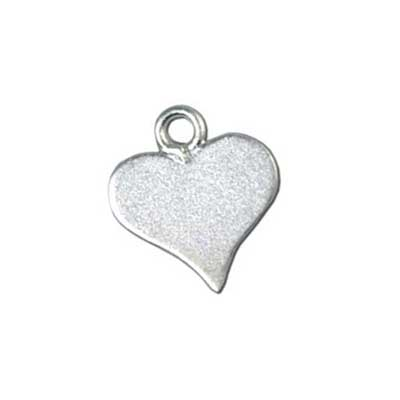 Sterling Silver Satin Heart Tag 10x11mm 22g Stamping Blank Charm x1
