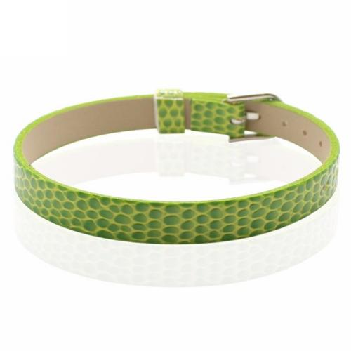 Faux Snakeskin PU Leather Bracelet Cuff Band, 8mm Wide Strip, 6 -7.5 Inch, x1pc, Lime