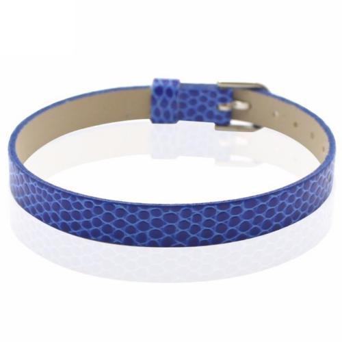 Faux Snakeskin PU Leather Bracelet Cuff Band, 8mm Wide Strip, 6 -7.5 Inch, x1pc, Blue