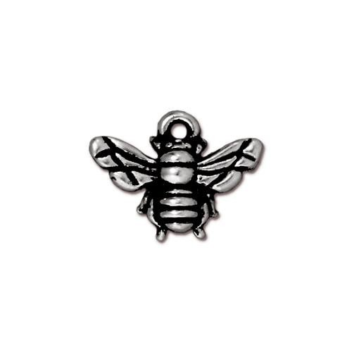 TierraCast Pewter Honeybee Antique Silver Plated 12x16mm Charm x1