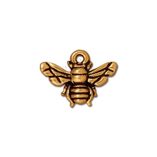 TierraCast Pewter Honeybee 22kt Gold Plated 12x16mm Charm x1