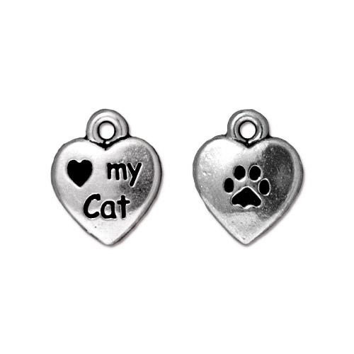 TierraCast Pewter Silver Plated Love my Cat 10mm Heart Charm x1
