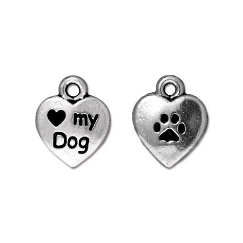 TierraCast Pewter Silver Plated Love my Dog 10mm Heart Charm x1
