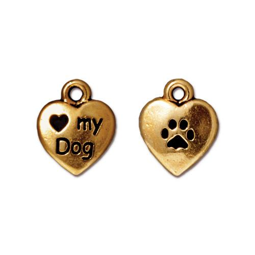 TierraCast Pewter 22kt Gold Plated Love my Dog 10mm Heart Charm x1
