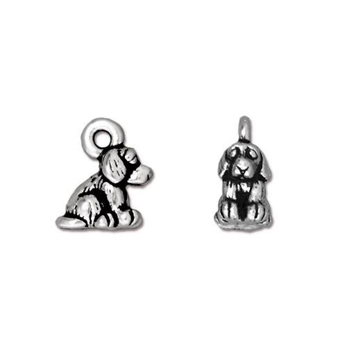 TierraCast Pewter Silver Plated Sitting Dog Charm (22x10mm) x1