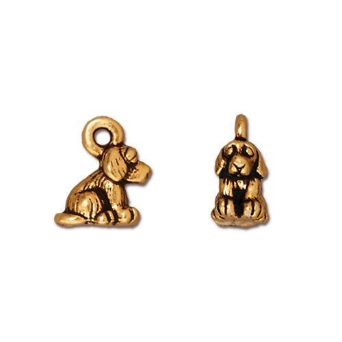 TierraCast Pewter Gold Plated Sitting Dog Charm (22x10mm) x1