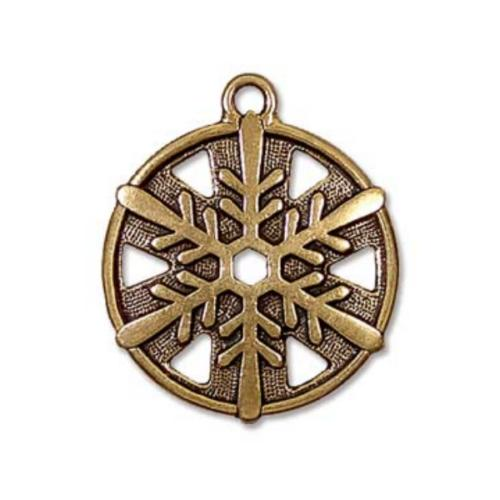 TierraCast Pewter Gold Plated 3/4 inch 19.5mm Snowflake Pendant