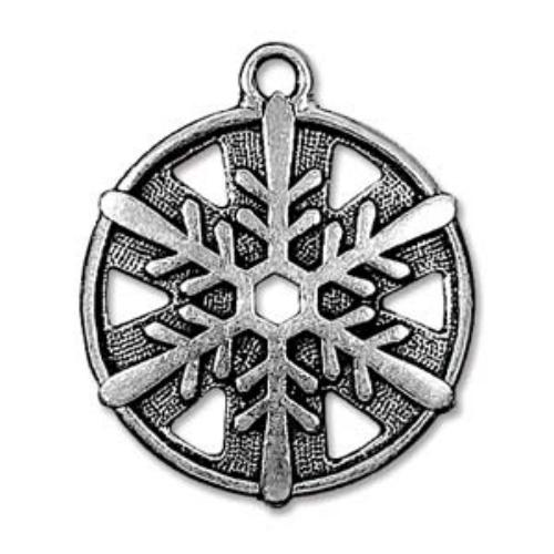 TierraCast Pewter Antique Silver Plated 1 inch 24mm Snowflake Pendant
