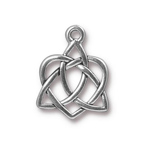 TierraCast Pewter Antique Silver Plated 20.6x15.7mm Celtic Open Heart Charm