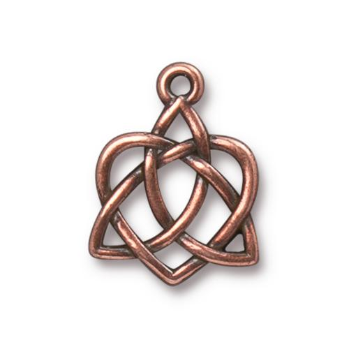 TierraCast Pewter Antique Copper Plated 20.6x15.7mm Celtic Open Heart Charm