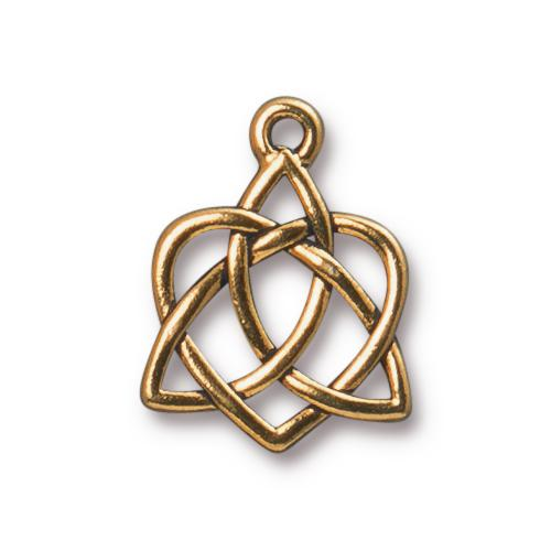 TierraCast Pewter Gold Plated 20.6x15.7mm Celtic Open Heart Charm