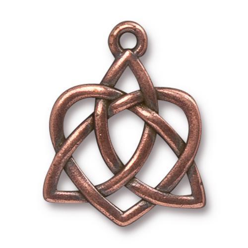 TierraCast Pewter Antique Copper Plated 26.9xx21.2mm Celtic Open Heart Pendant
