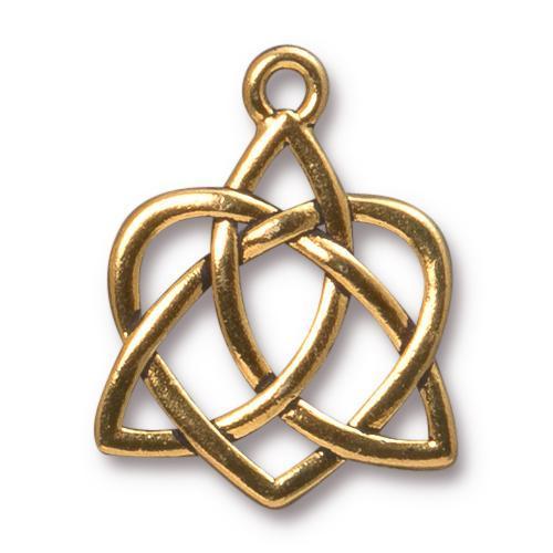 TierraCast Pewter Gold Plated 26.9xx21.2mm Celtic Open Heart Pendant
