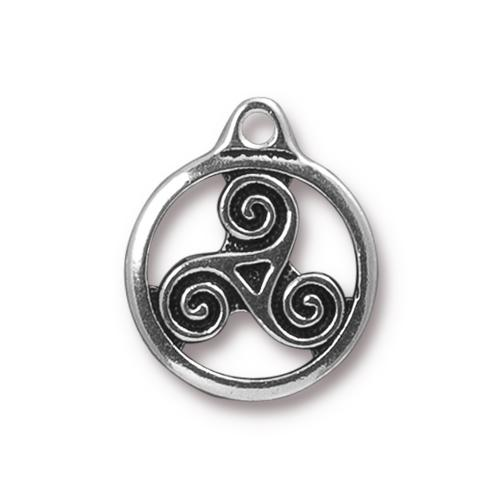 TierraCast Pewter Antique Silver Plated 19.4x16mm Celtic Triskele Charm