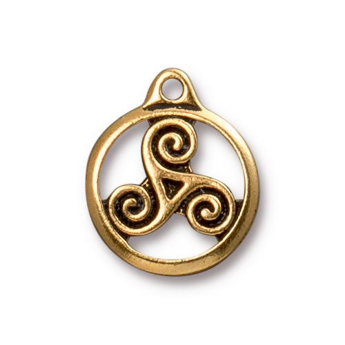 TierraCast Pewter Gold Plated 19.4x16mm Celtic Triskele Charm