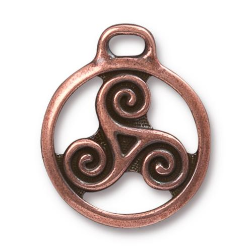 TierraCast Pewter Antique Copper Plated 26x22.3mm Celtic Triskele Pendant