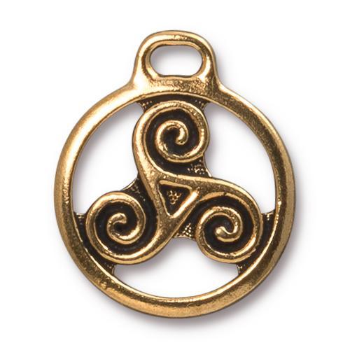 TierraCast Pewter Gold Plated 26x22.3mm Celtic Triskele Pendant