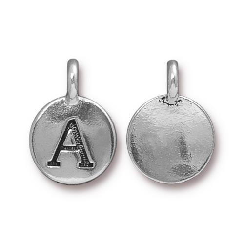TierraCast Pewter Silver Plated Alphabet Charm, Letter A
