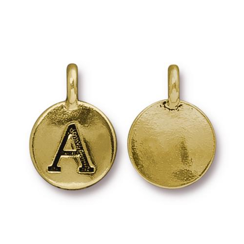 TierraCast Pewter Gold Plated Alphabet Charm, Letter A