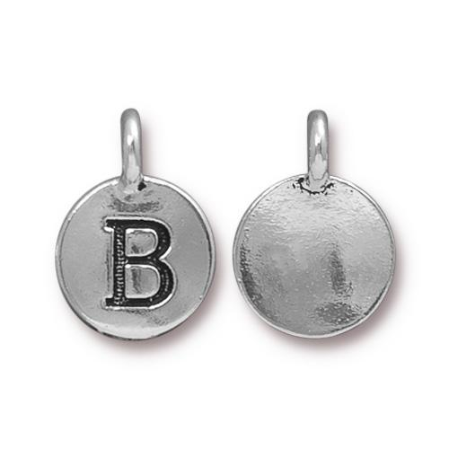 TierraCast Pewter Silver Plated Alphabet Charm, Letter B