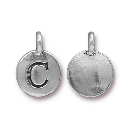 TierraCast Pewter Silver Plated Alphabet Charm, Letter C