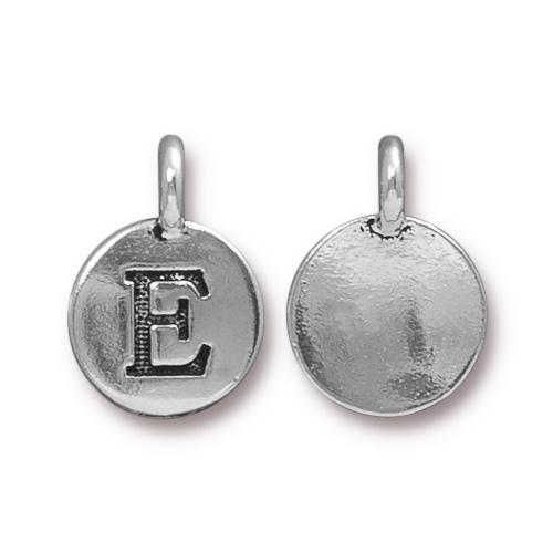 TierraCast Pewter Silver Plated Alphabet Charm, Letter E