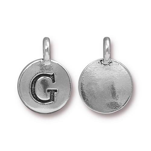 TierraCast Pewter Silver Plated Alphabet Charm, Letter G
