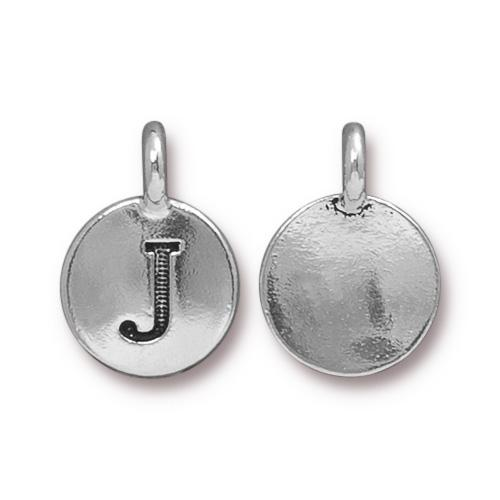 TierraCast Pewter Silver Plated Alphabet Charm, Letter J