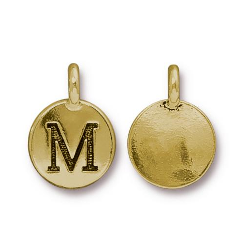 TierraCast Pewter Gold Plated Alphabet Charm, Letter M