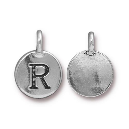 TierraCast Pewter Silver Plated Alphabet Charm, Letter R
