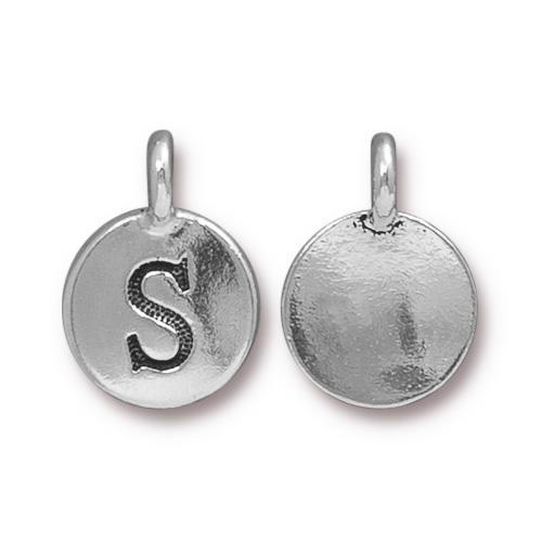 TierraCast Pewter Silver Plated Alphabet Charm, Letter S