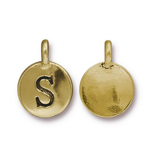 TierraCast Pewter Gold Plated Alphabet Charm, Letter S