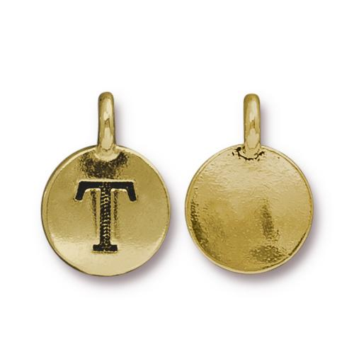 TierraCast Pewter Gold Plated Alphabet Charm, Letter T