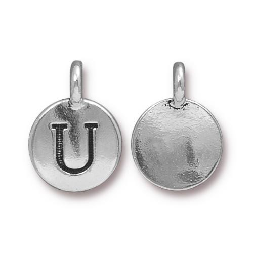 TierraCast Pewter Silver Plated Alphabet Charm, Letter U