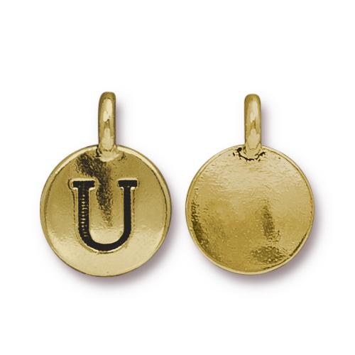TierraCast Pewter Gold Plated Alphabet Charm, Letter U