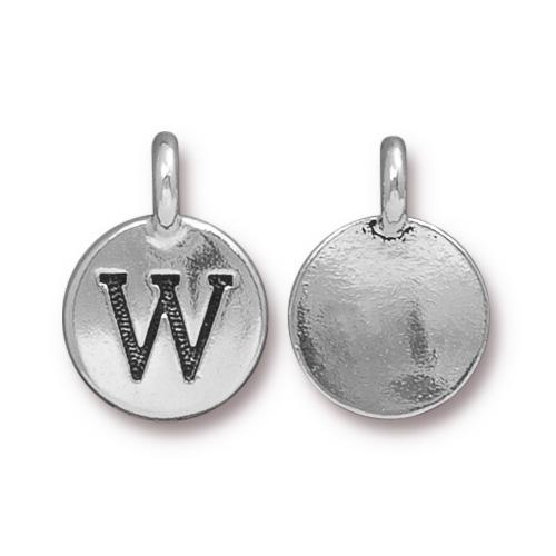 TierraCast Pewter Silver Plated Alphabet Charm, Letter W