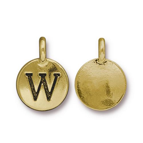 TierraCast Pewter Gold Plated Alphabet Charm, Letter W